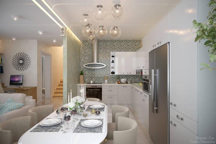"""Дизайн кухни - гостиной в современном стиле в коттеджном поселке """"Бавария"""": Кухни в . Автор – Студия интерьерного дизайна happy.design,"""