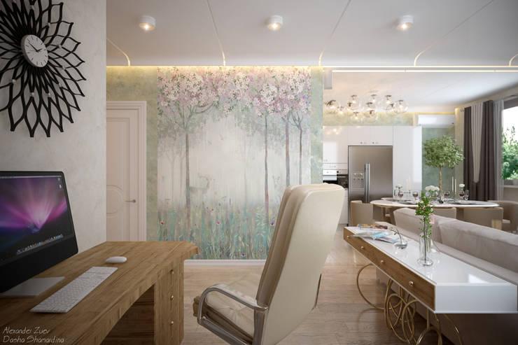 """Дизайн кухни - гостиной в современном стиле в коттеджном поселке """"Бавария"""": Гостиная в . Автор – Студия интерьерного дизайна happy.design,"""