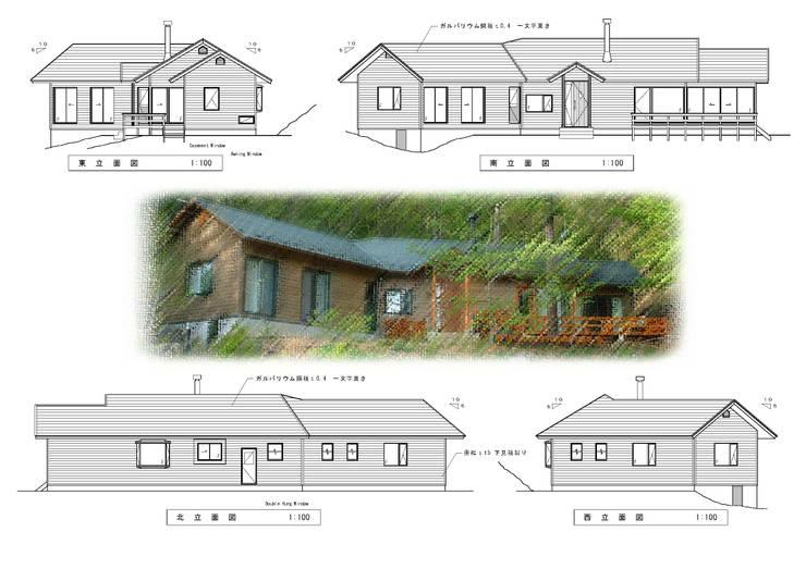 立面図、八ヶ岳の眺望を優先した窓の配置: (有)岳建築設計が手掛けた家です。