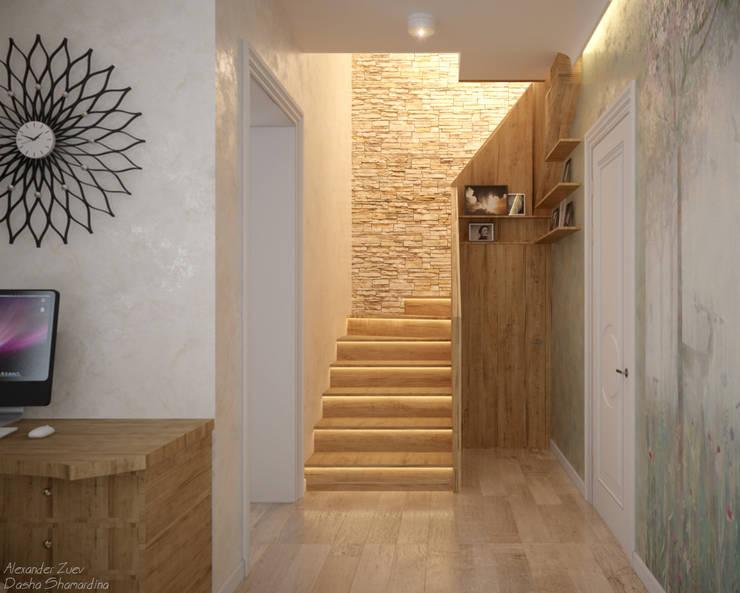 """Дизайн кухни - гостиной в современном стиле в коттеджном поселке """"Бавария"""": Коридор и прихожая в . Автор – Студия интерьерного дизайна happy.design,"""