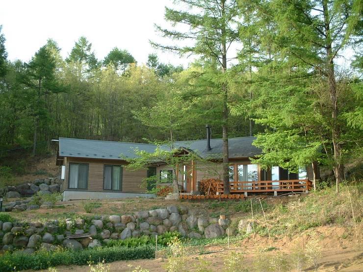 カラマツ林に囲まれた外観: (有)岳建築設計が手掛けた家です。