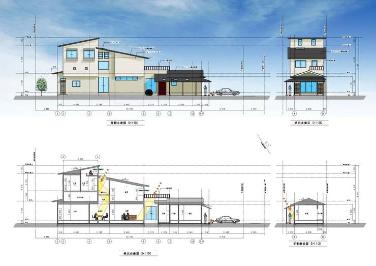 外観イメージ、断面計画: (有)岳建築設計が手掛けた家です。