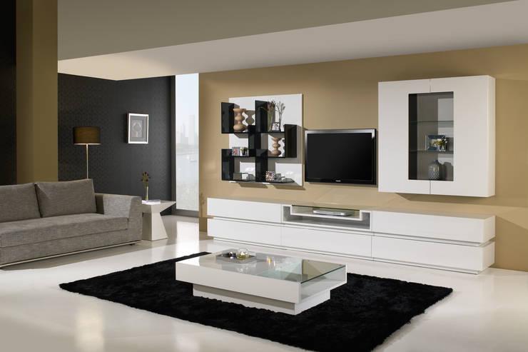 Mobiliário de salas de estar Furniture for living rooms www.intense-mobiliario.com  Kiara http://intense-mobiliario.com/product.php?id_product=3408: Sala de estar  por Intense mobiliário e interiores;