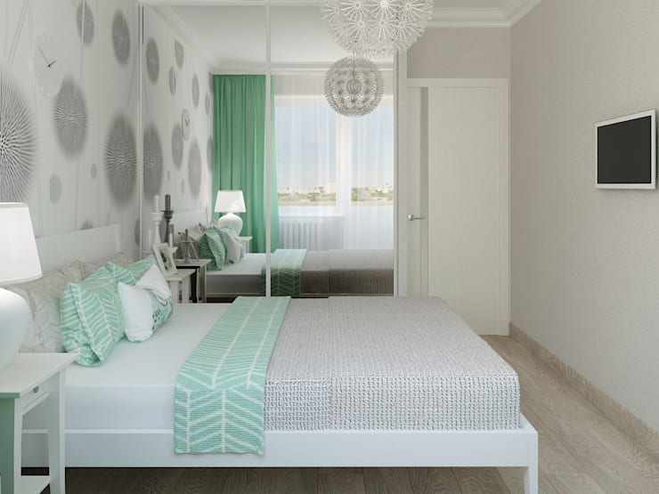 Яркая квартира: Спальни в . Автор – Olesya Parkhomenko, Скандинавский
