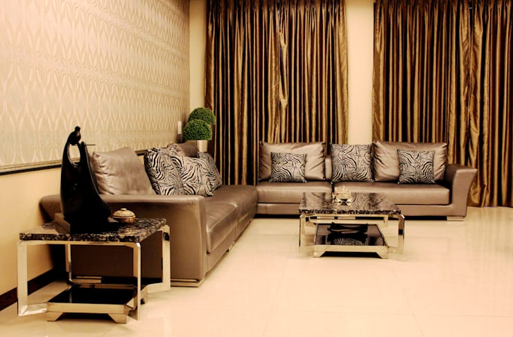 Residence Design, Rosewood City:  Living room by H5 Interior Design