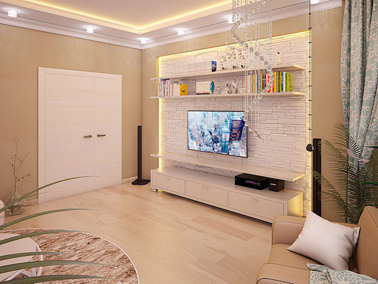 Дизайн квартиры в Новомосковске: Гостиная в . Автор – Алина  Насонова,