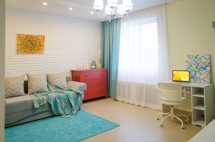 Реализация. Квартира 45 кв.м. на Романова: Гостиная в . Автор – Студия дизайна Виктории Силаевой