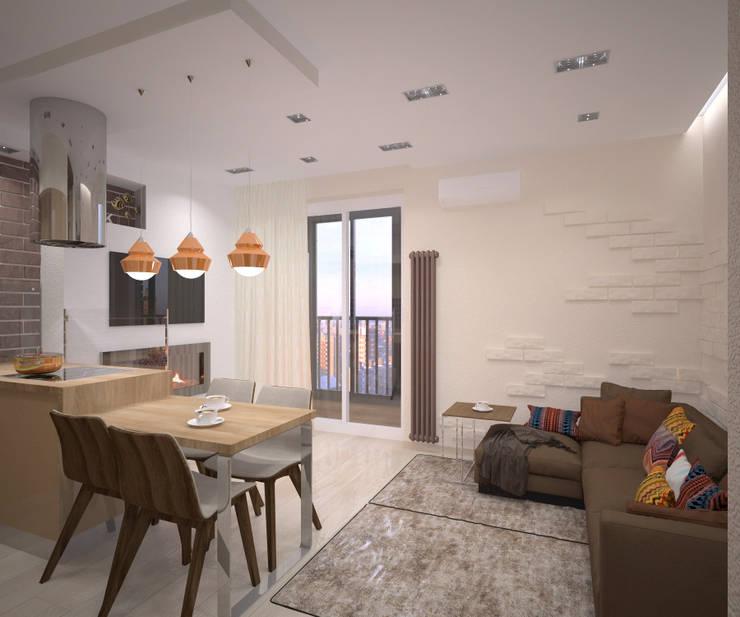 Квартира 55 кв.м. в ЖК <q>Европейский берег</q>: Гостиная в . Автор – Студия дизайна Виктории Силаевой