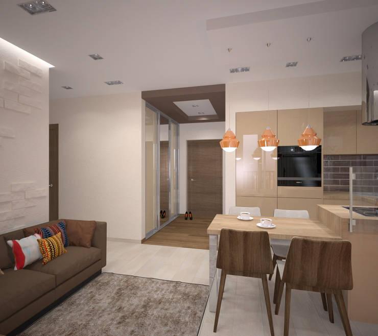 Квартира 55 кв.м. в ЖК <q>Европейский берег</q>: Кухни в . Автор – Студия дизайна Виктории Силаевой