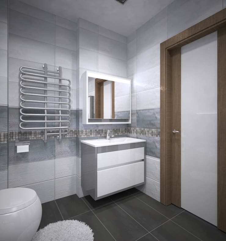 Квартира 55 кв.м. в ЖК <q>Европейский берег</q>: Ванные комнаты в . Автор – Студия дизайна Виктории Силаевой