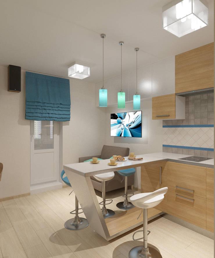 Студия 35 кв.м.: Кухни в . Автор – Студия дизайна Виктории Силаевой