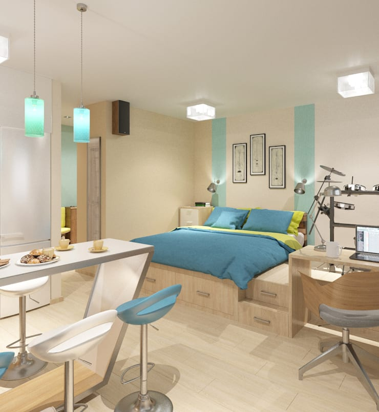 Студия 35 кв.м.: Гостиная в . Автор – Студия дизайна Виктории Силаевой