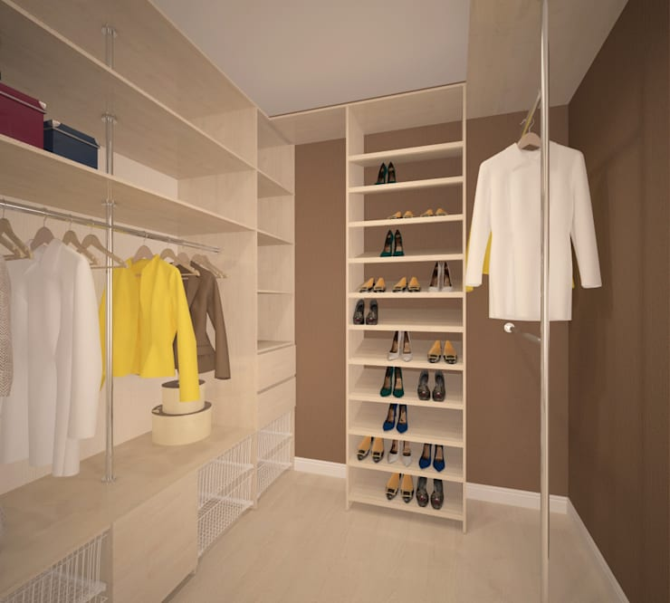 Второй этаж, гардеробная при спальни: Гардеробные в . Автор – Студия дизайна Виктории Силаевой
