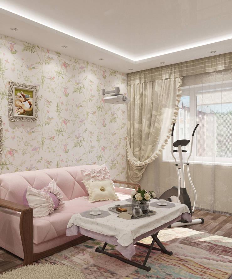 Кухня-гостиная 35 кв.м. в стиле прованс в двухуровневой квартире: Гостиная в . Автор – Студия дизайна Виктории Силаевой,