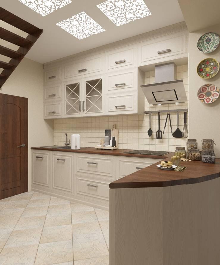 Кухня-гостиная 35 кв.м. в стиле прованс в двухуровневой квартире: Кухни в . Автор – Студия дизайна Виктории Силаевой,
