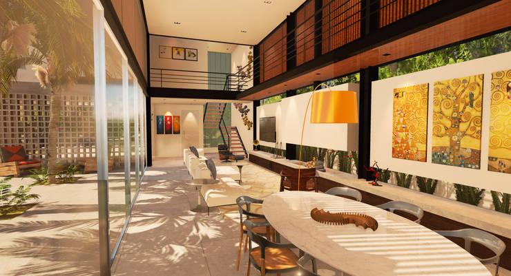 Casa Alphaville: Salas de estar  por Macro Arquitetos