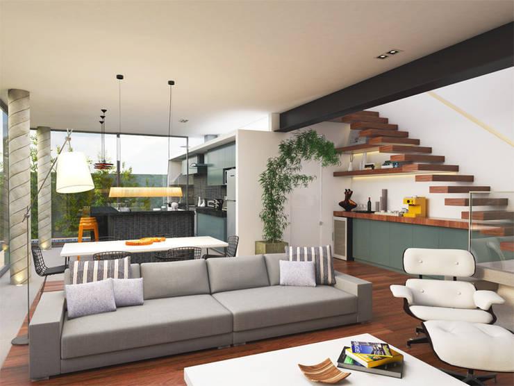 Casa L.&J. : Salas de estar  por Macro Arquitetos,Moderno
