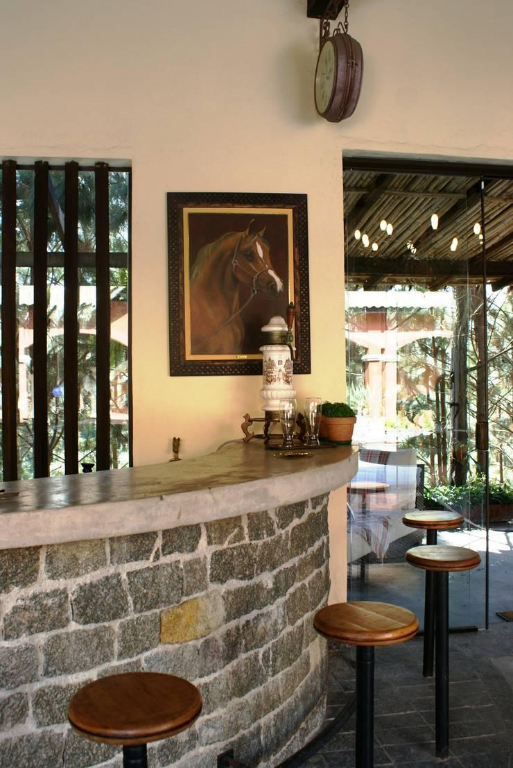 Bar integrado ao Living e Varanda: Salas de estar  por Daniela Zuffo Arquitetura e Interiores,