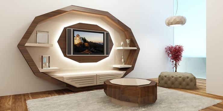 estante de sala: Sala de estar  por relax mobiliário e decoração