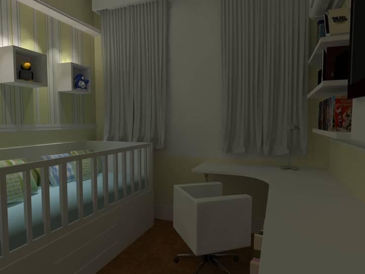 dormitório de bebê: Quarto infantil  por Elaine Medeiros Borges design de interiores