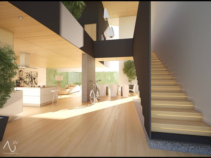 Ingreso: Pasillos y recibidores de estilo  por 21arquitectos