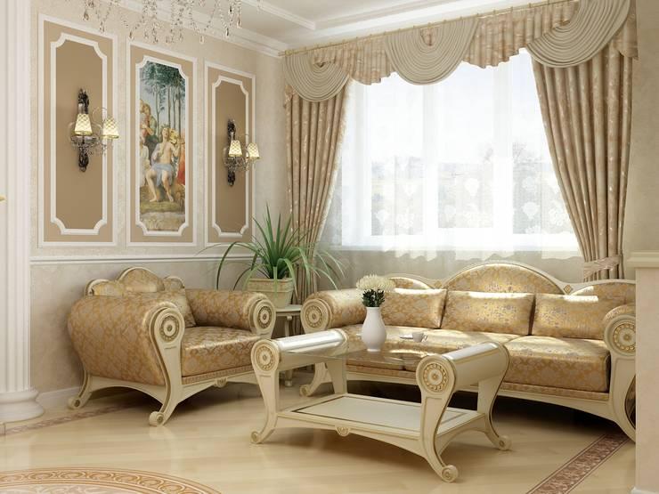Living room by СТУДИЯ ДИЗАЙНА ЭЛИТНЫХ ИНТЕРЬЕРОВ АЛЕКСАНДРА ЕЛАШИНА.