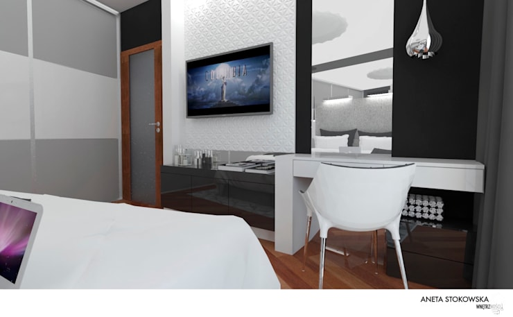 Sypialnia 17m2: styl , w kategorii Sypialnia zaprojektowany przez WNĘTRZNOŚCI Projektowanie wnętrz i mebli