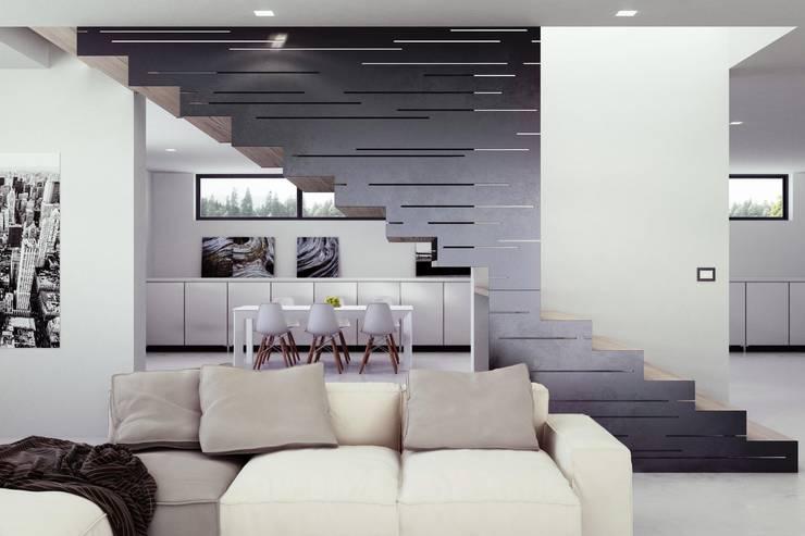 Vestíbulos, pasillos y escaleras de estilo  por Visual4d - Rendering&Multimedia