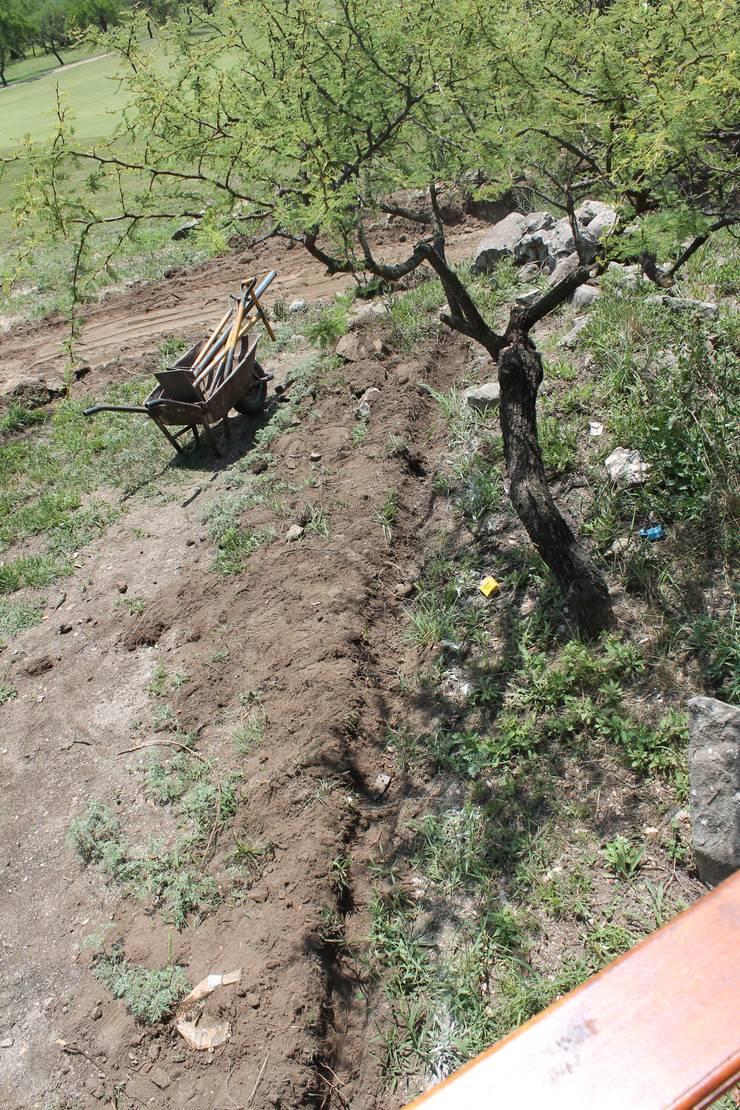 Vivienda Familiar en medio de las Sierras de Córdoba – Ejecución: Jardines de estilo  por MARIELA DURA ARQUITECTURA PAISAJISTA,Rústico
