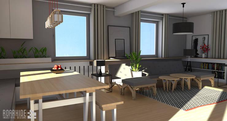 Salon z jadalnią.: styl , w kategorii Jadalnia zaprojektowany przez ROARHIDE Industrial designs