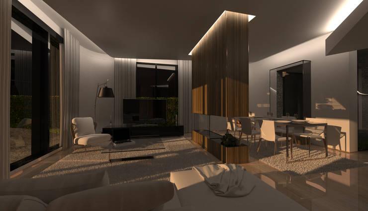PT - Sala de Estar . Crepúsculo  EN - Living Room . Dusk: Salas de estar  por Office of Feeling Architecture, Lda