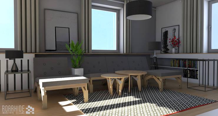 Rzut oka na meble w salonie.: styl , w kategorii Salon zaprojektowany przez ROARHIDE Industrial designs