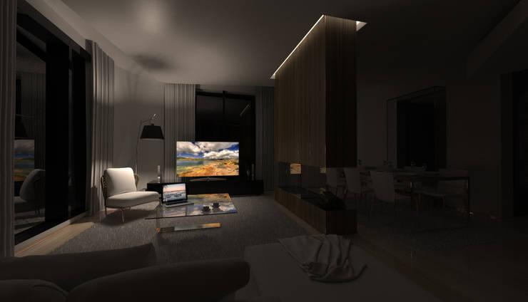 PT - Sala de Estar . Noite  EN - Living Room . Night: Salas de estar  por Office of Feeling Architecture, Lda