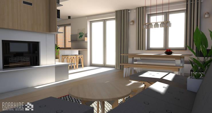 Rzut oka w kierunku jadalni.: styl , w kategorii Jadalnia zaprojektowany przez ROARHIDE Industrial designs