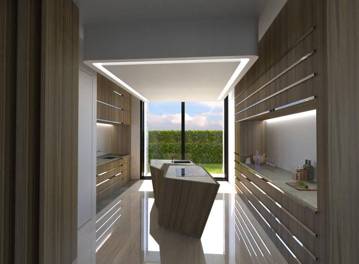 Habitação Unifamiliar Isolada T4 - o Tempo e a Sensação: Cozinhas  por Office of Feeling Architecture, Lda