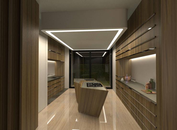 PT - Cozinha . Noite  EN - Kitchen . Night: Cozinhas  por Office of Feeling Architecture, Lda