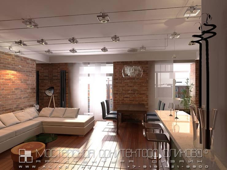 Гостиная в стиле лофт: Гостиная в . Автор – Мастерская архитектора Аликова