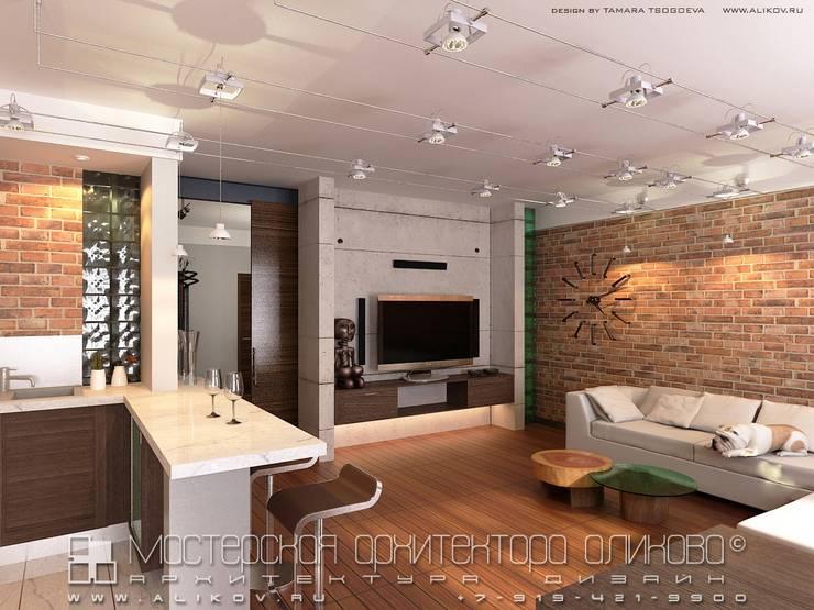 Интерьер квартиры в стиле лофт во Владикавказе: Гостиная в . Автор – Мастерская архитектора Аликова