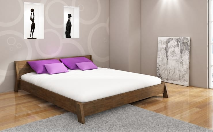 Łóżko Visby Rocco: styl , w kategorii  zaprojektowany przez visby.pl,Nowoczesny Drewno O efekcie drewna