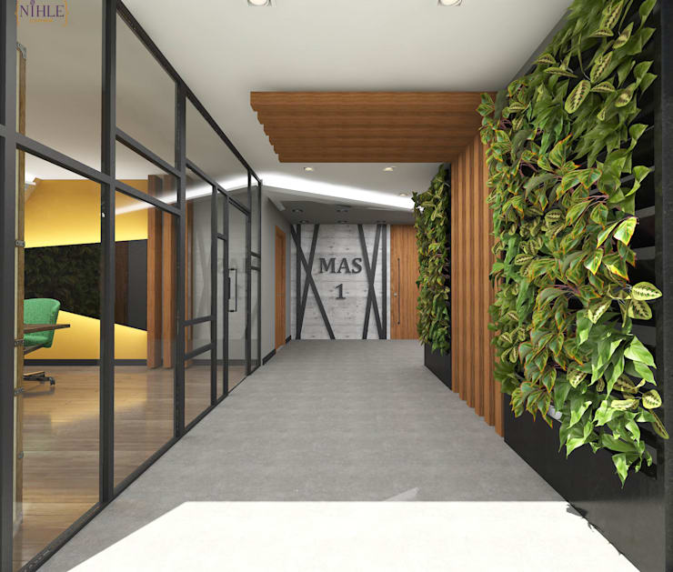 nihle iç mimarlık – MAS 1 İDARİ BİNA:  tarz Ofis Alanları, Endüstriyel