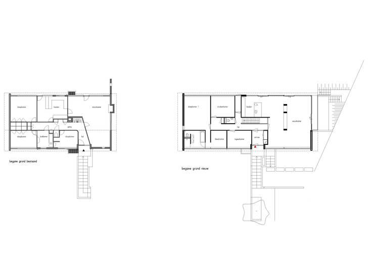 Plattegronden: bestaande begane grond & nieuwe begane grond:  Huizen door Van de Looi en Jacobs Architecten