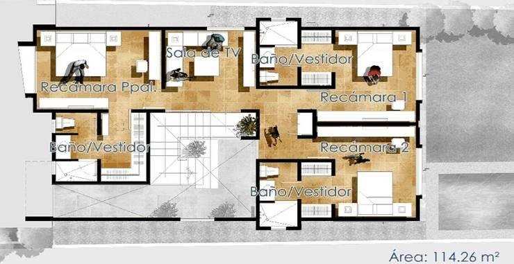 PLANTA ALTA:  de estilo  por villarreal arquitectos y urbanistas asociados sc