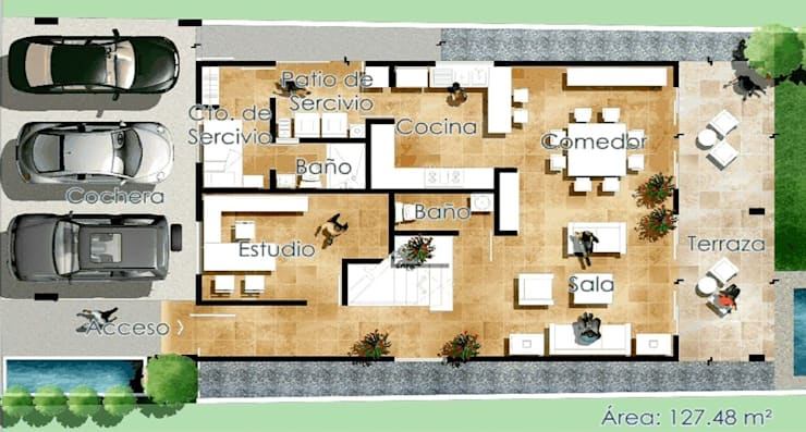 PLANTA BAJA:  de estilo  por villarreal arquitectos y urbanistas asociados sc