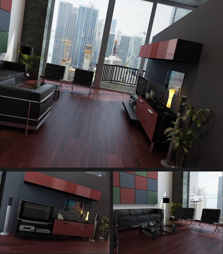 Apartamento Nova York: Salas de estar  por 3D-Hiper-Realismo-