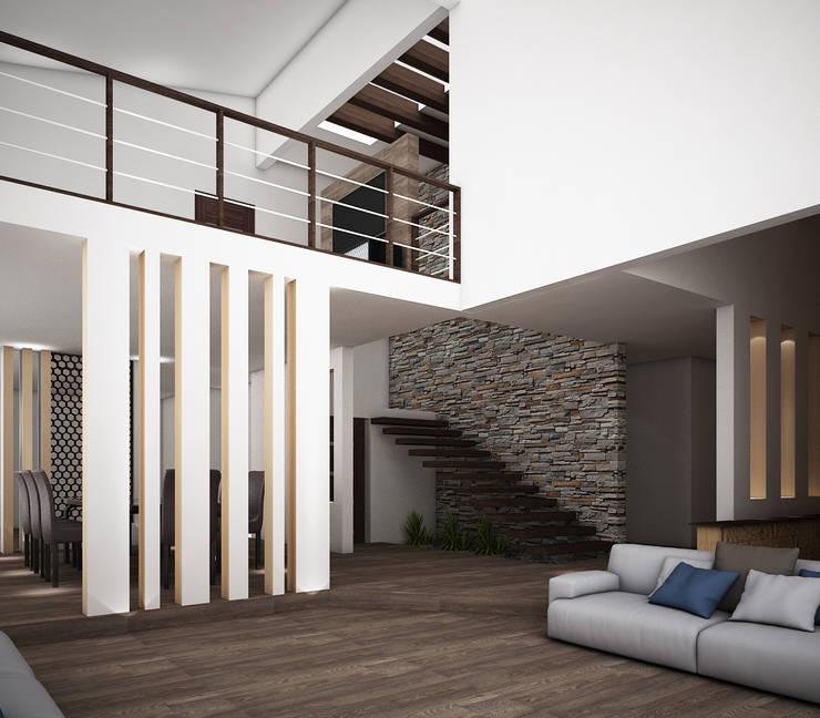 Casa O-M: Salas de estilo  por Jeost Arquitectura