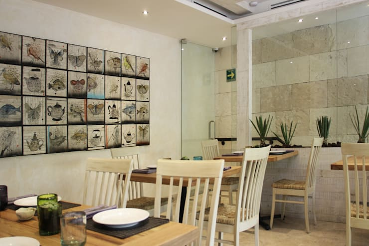 Guzina Oaxaca- Boue Arquitectos : Restaurantes de estilo  por Boué Arquitectos