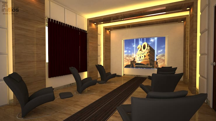 Mr. Bharat 's residence :  Media room by Initios Designs