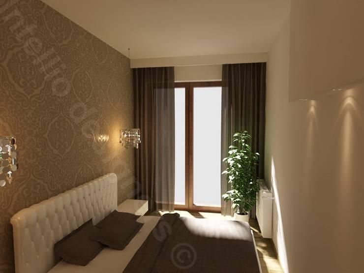 Mała sypialnia: styl , w kategorii Sypialnia zaprojektowany przez Intellio designers,Nowoczesny