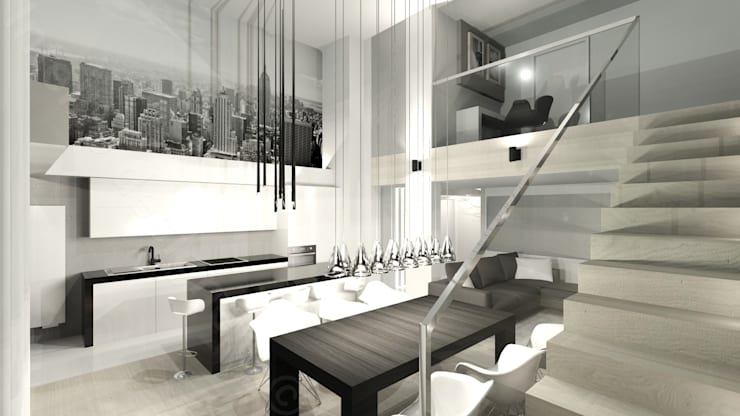 Apartament dwupiętrowy: styl , w kategorii Salon zaprojektowany przez Intellio designers,Nowoczesny
