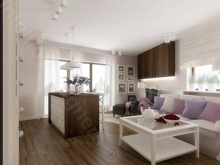 Salon z aneksem kuchennym: styl , w kategorii Salon zaprojektowany przez Intellio designers,Nowoczesny
